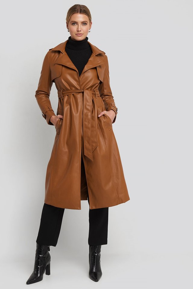Faux Leather Trenchcoat Cognac