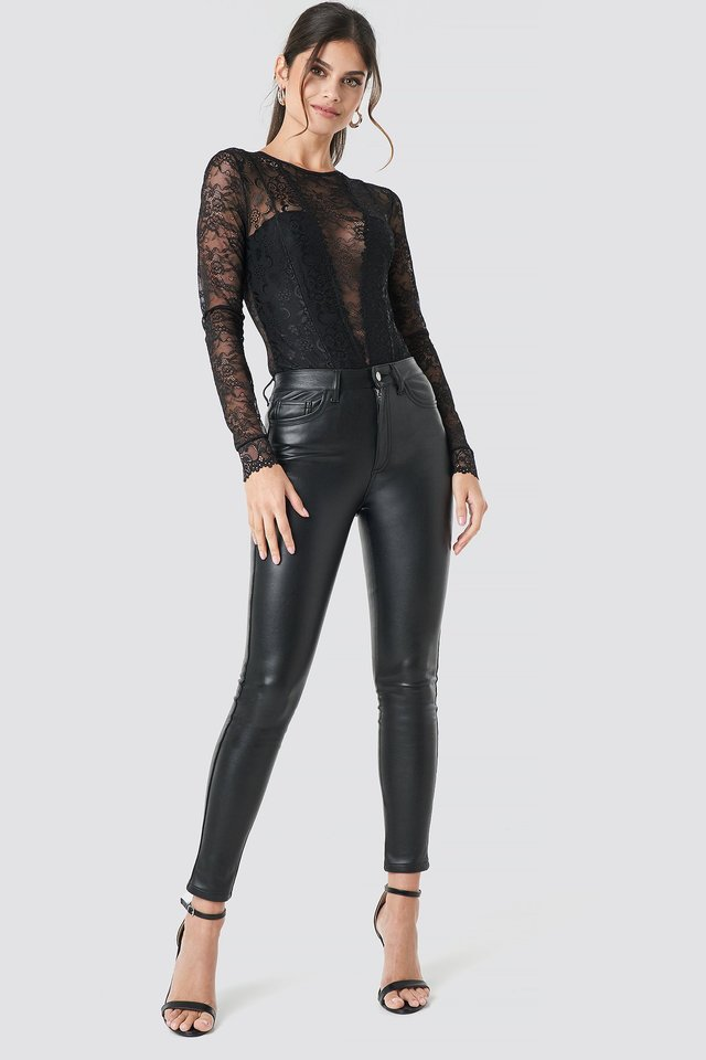 Faux Leather Trousers Black