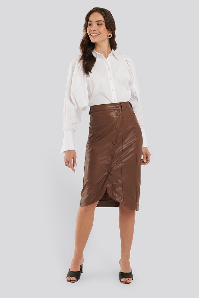 Faux Leather Wrap Skirt Brown
