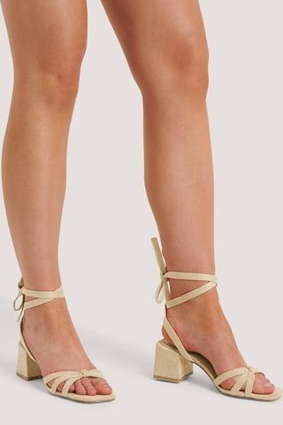 Beige Högklackade Sandaler
