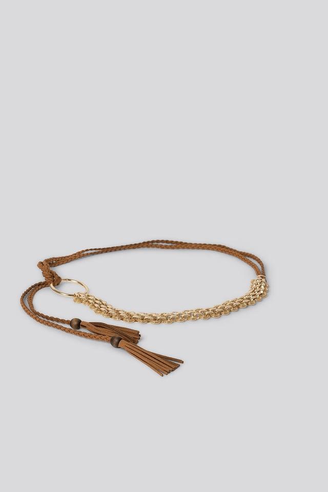 Faux Suede Chain Belt Gold