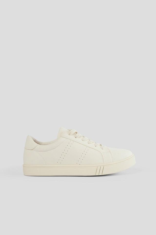 Beige Faux Suede Court Sneakers