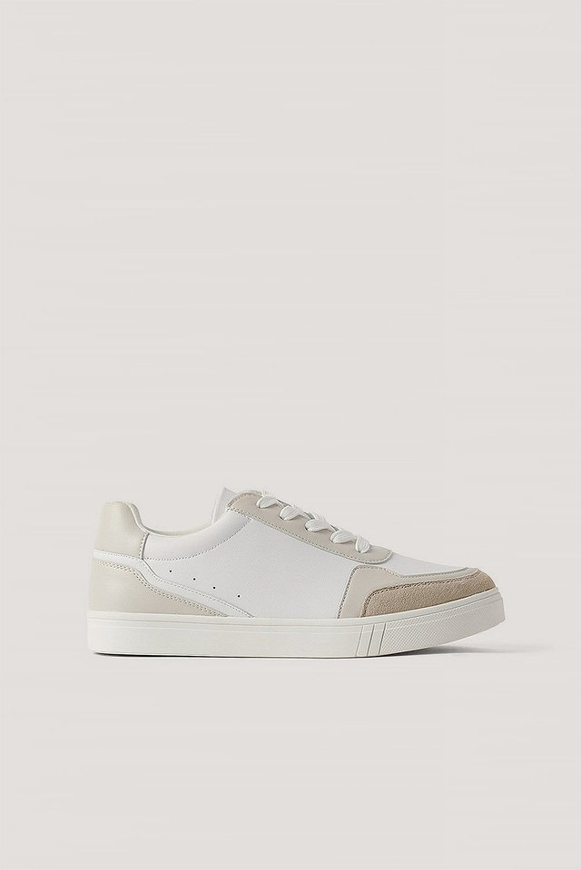 White Faux Suede Court Trainers
