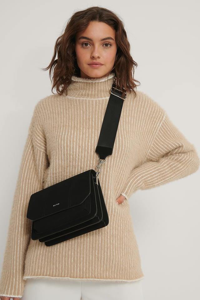 Black Faux Suede Crossbody Bag