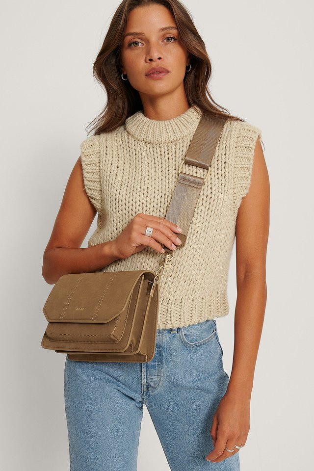 Faux Suede Crossbody Bag Brown