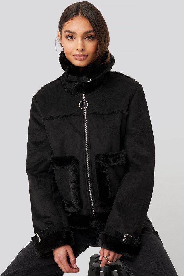 Faux Suede Fur Jacket Black