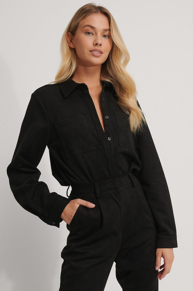 Faux Suede Shirt Black
