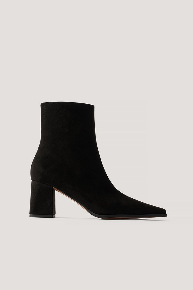 Black Faux Suede Slim Toe Boots