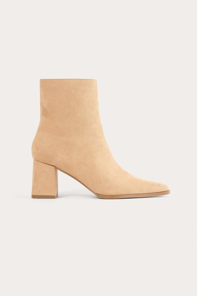 Beige Faux Suede Slim Toe Boots