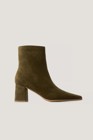 Moss Faux Suede Slim Toe Boots