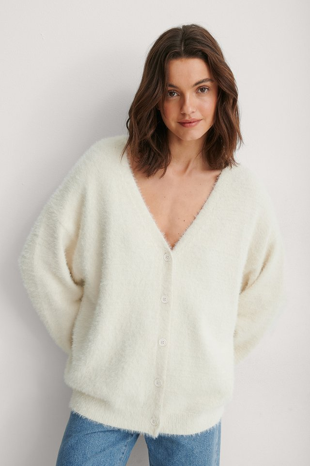 White Feather Yarn Knitted Cardigan
