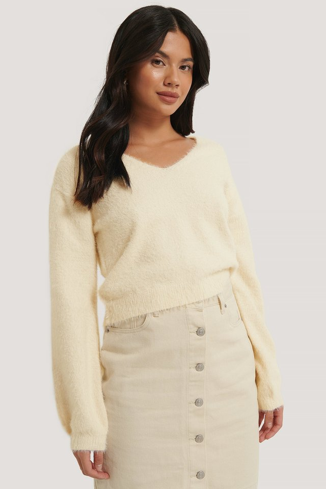Offwhite Feather Yarn Knitted Sweater