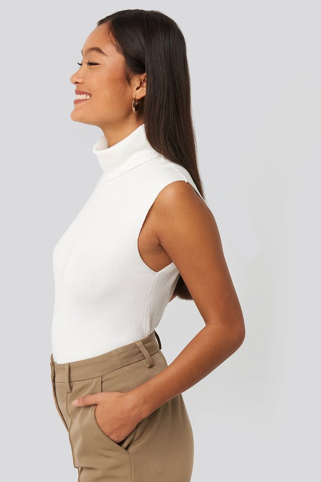 Felicia Wedin Knitted Polo Top White