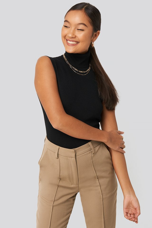 Felicia Wedin Knitted Polo Top Black