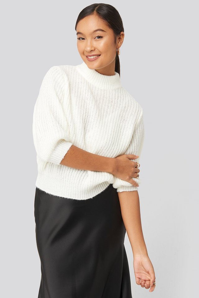 Felicia Wedin Mid Sleeve Knitted Sweater White