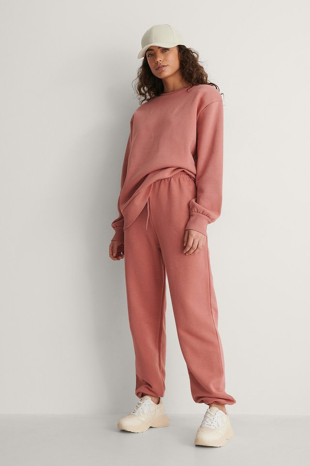 Dusty Pink Felt Pocket Detail Sweatpants
