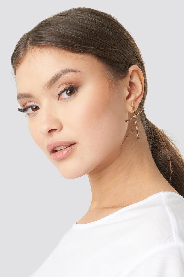 Fine Cross Earrings Gold