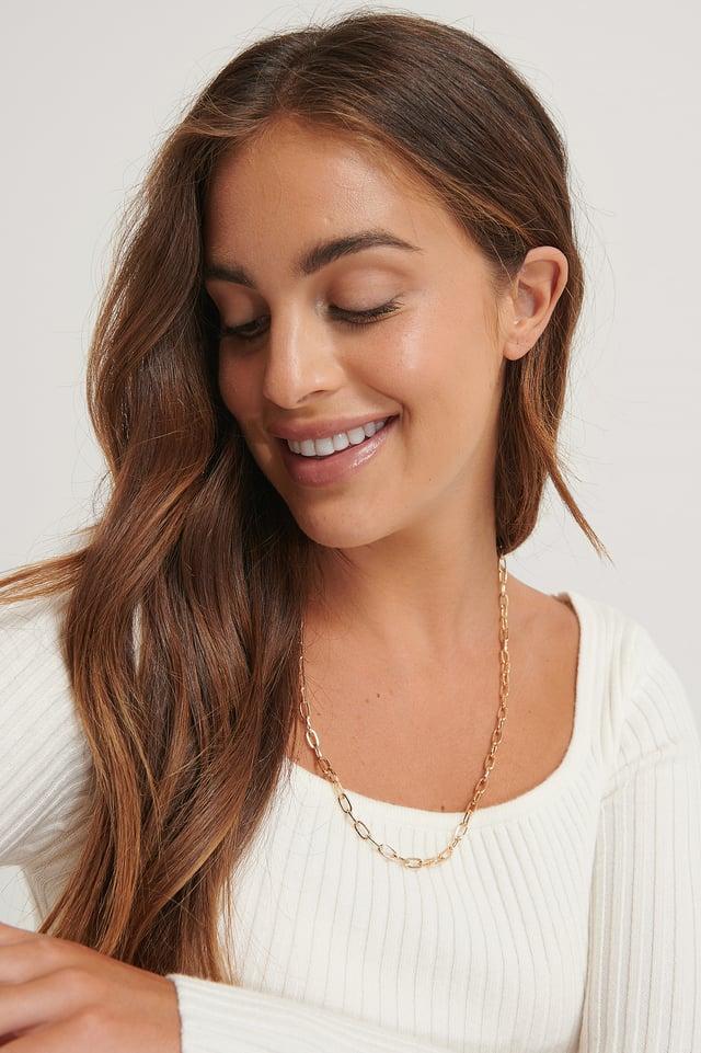 Fine Drop Chain Necklace Gold