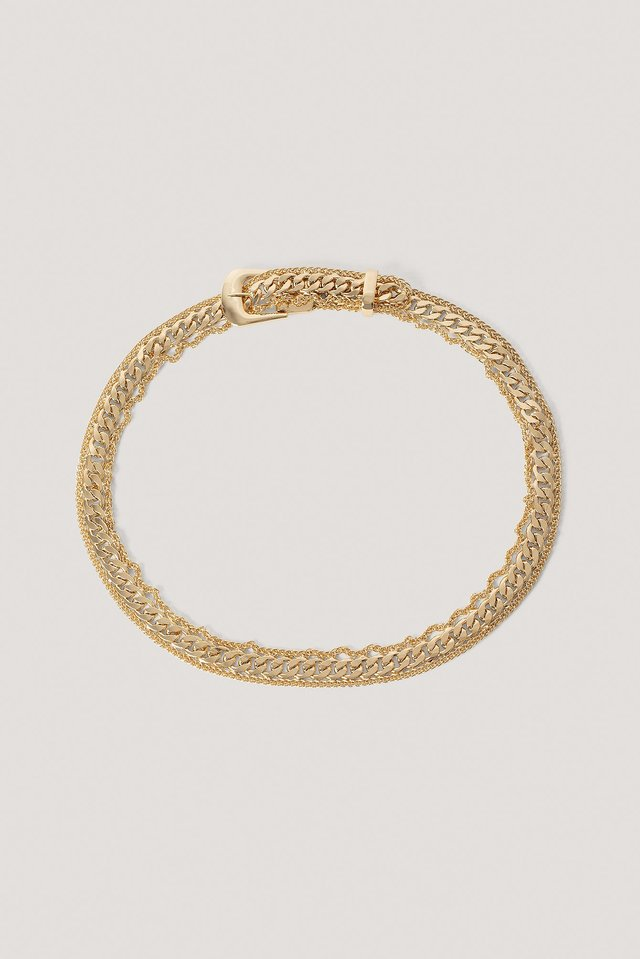 Fine Frame Chain Buckle Belt Gold