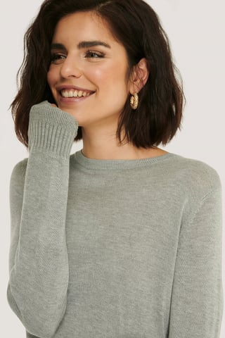 Grey Fine Knit Crew Neck Sweater