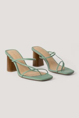 Pastel Green Fine Strappy Block Heel Sandals