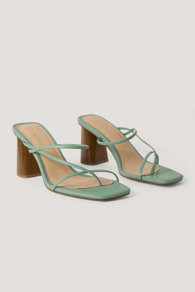 Fine Strappy Block Heel Sandals Pastel Green