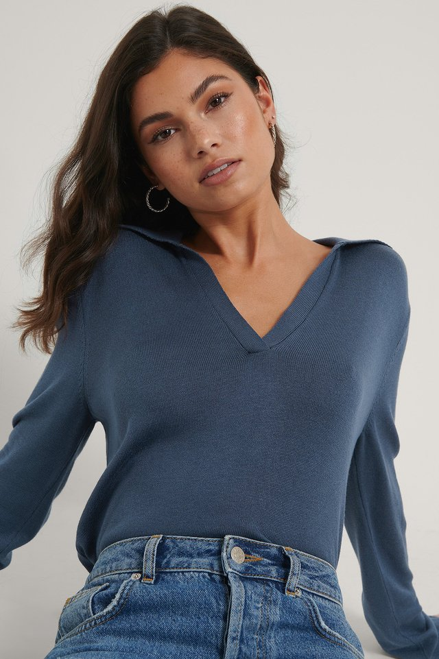 Dark Blue Loose Fit Collar Knitted sweater