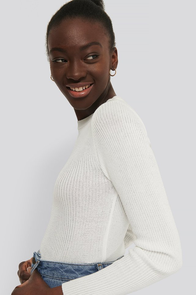 Sweter Z Dzianiny Z Półokrągłym Dekoltem Ecru