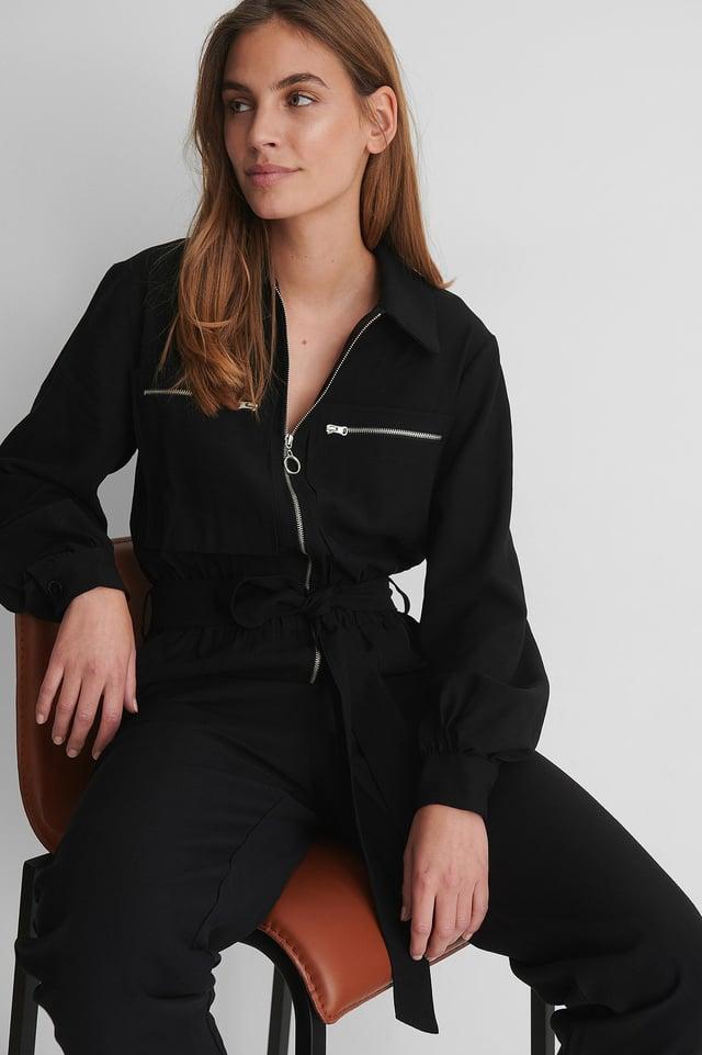 Fitted Pocket Jumpsuit Black