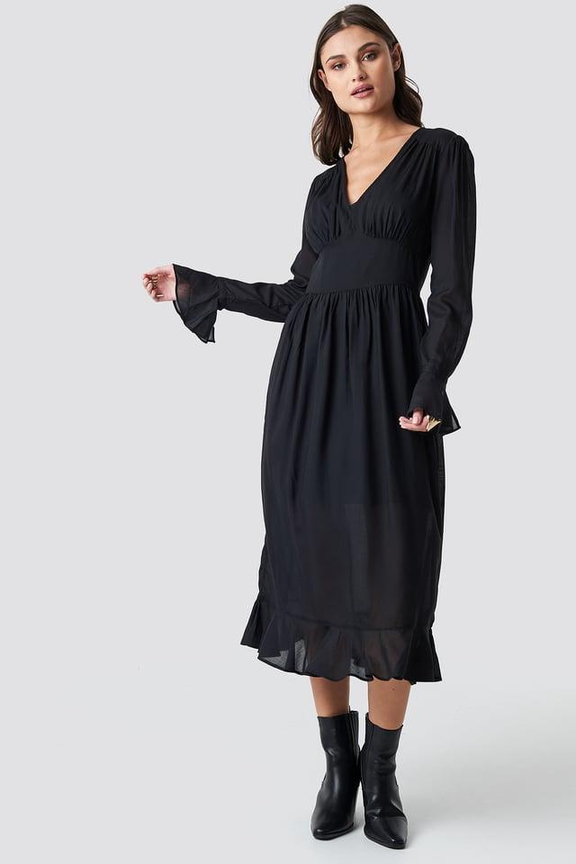 Fitted Waist Frill Detail Dress Black