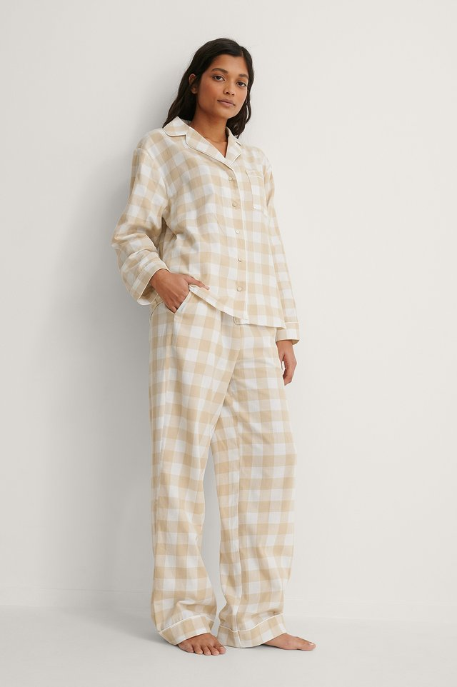 Beige Check Flannel Pyjamas Pants