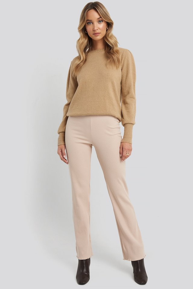 Flare Ribbed Pants Beige