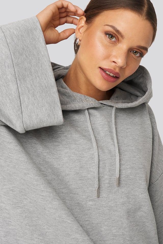 Flare Sleeve Hoodie Grey Marle