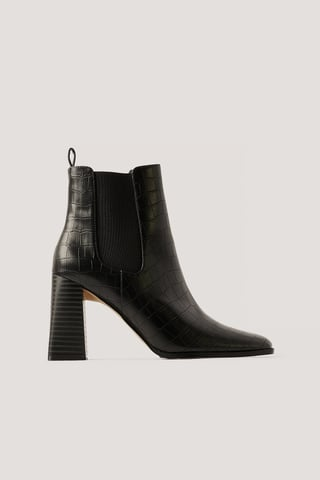 Black Flared Block Heel Boots