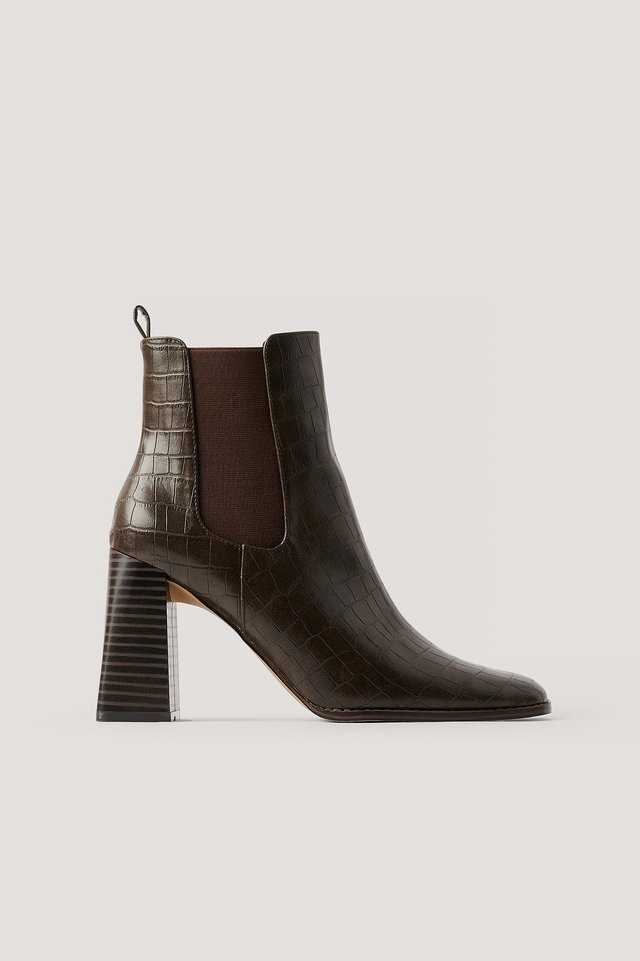 Brown Flared Block Heel Boots