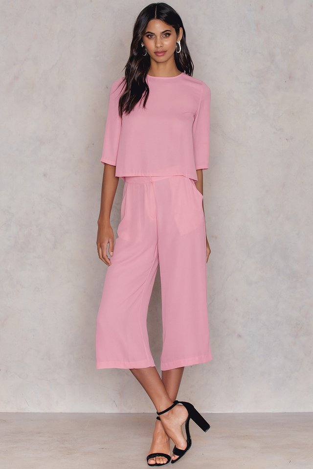 Flared Culotte Pants Pink