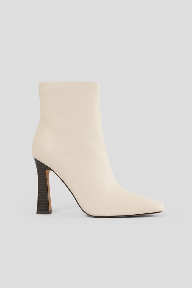 Flared High Heel Boots Beige