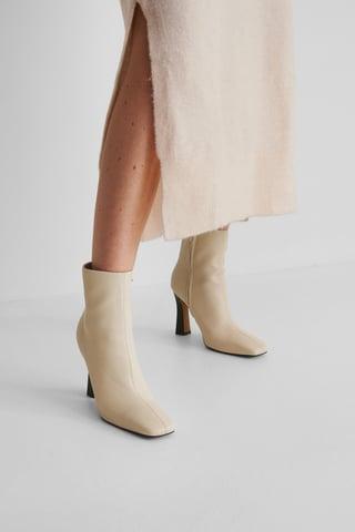 Beige Flared High Heel Boots