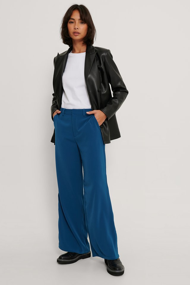 Flared Shiny Suit Pants Dark Blue