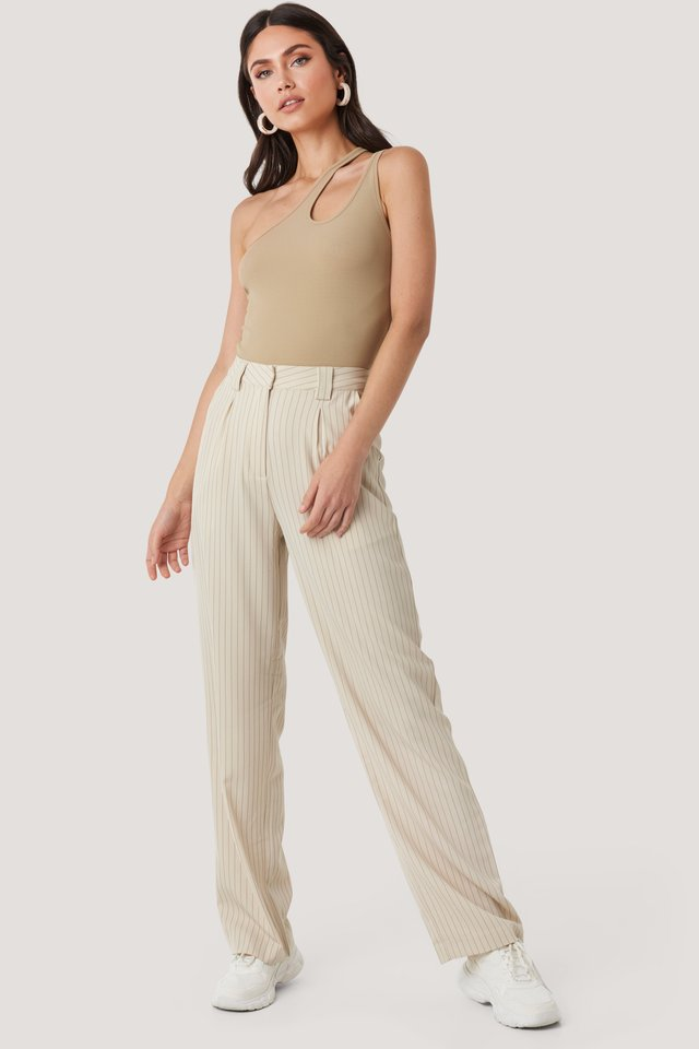Flared Striped Pants Beige