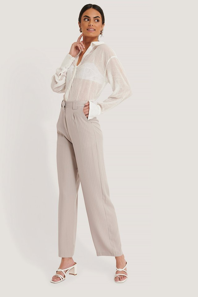 Flared Striped Pants Light Grey