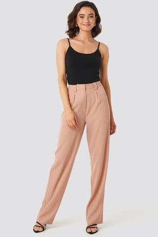 Dusty Pink Poszerzane Spodnie W Paski