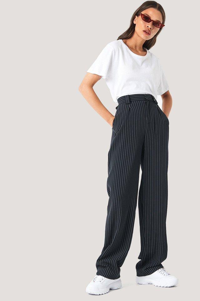 Flared Striped Pants Black/Stripe