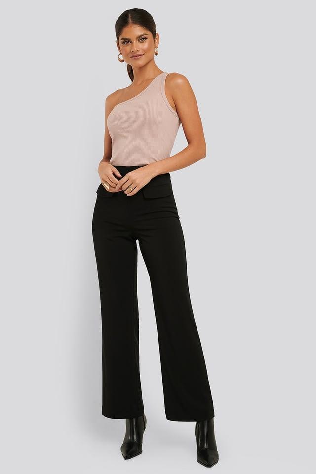 Flared Suit Pants Black