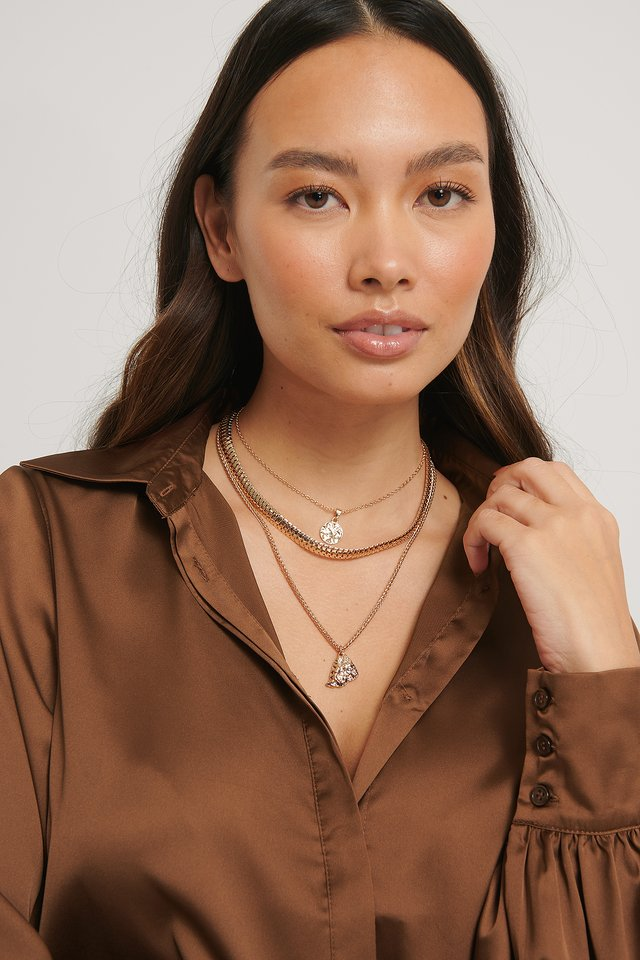 Flat Chain Pendant Necklace Gold