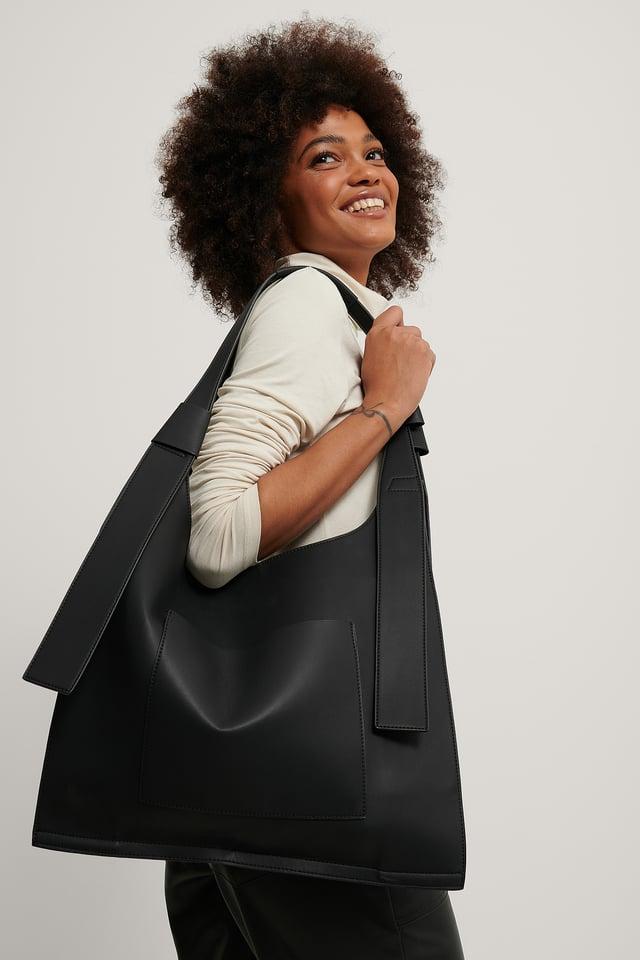 Kierrätetty Suuri Neliskulmainen Shopper-laukku Black
