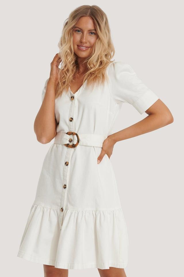 Flounce Belted Denim Dress Offwhite