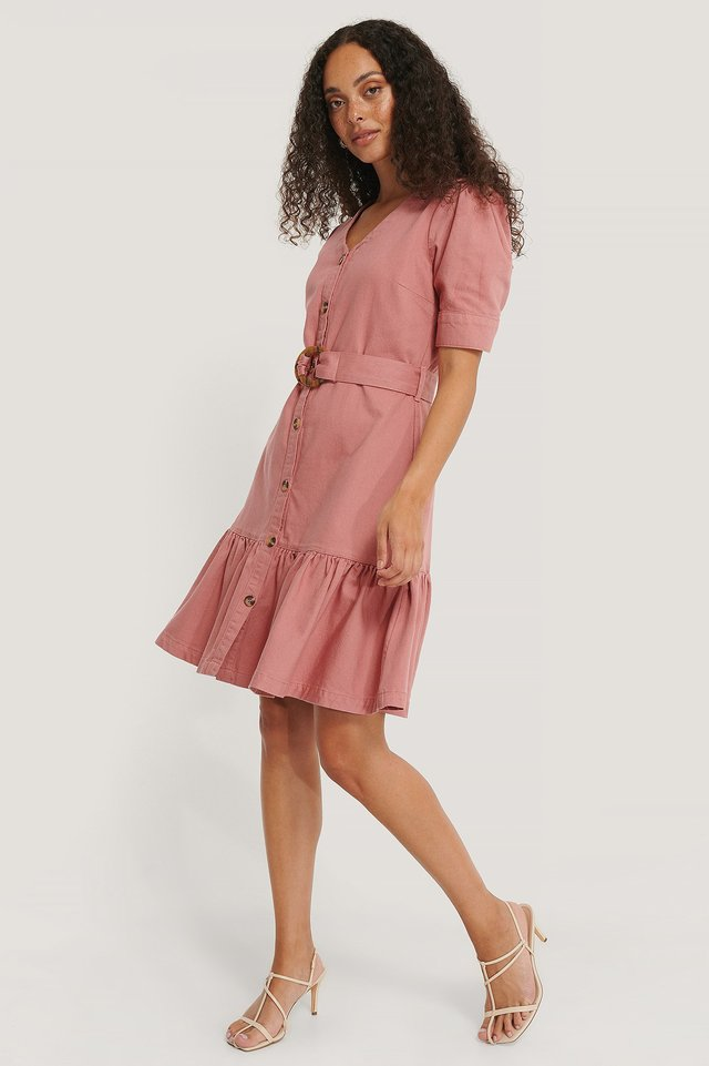 Washed Dusty Pink Flounce Belted Denim Dress