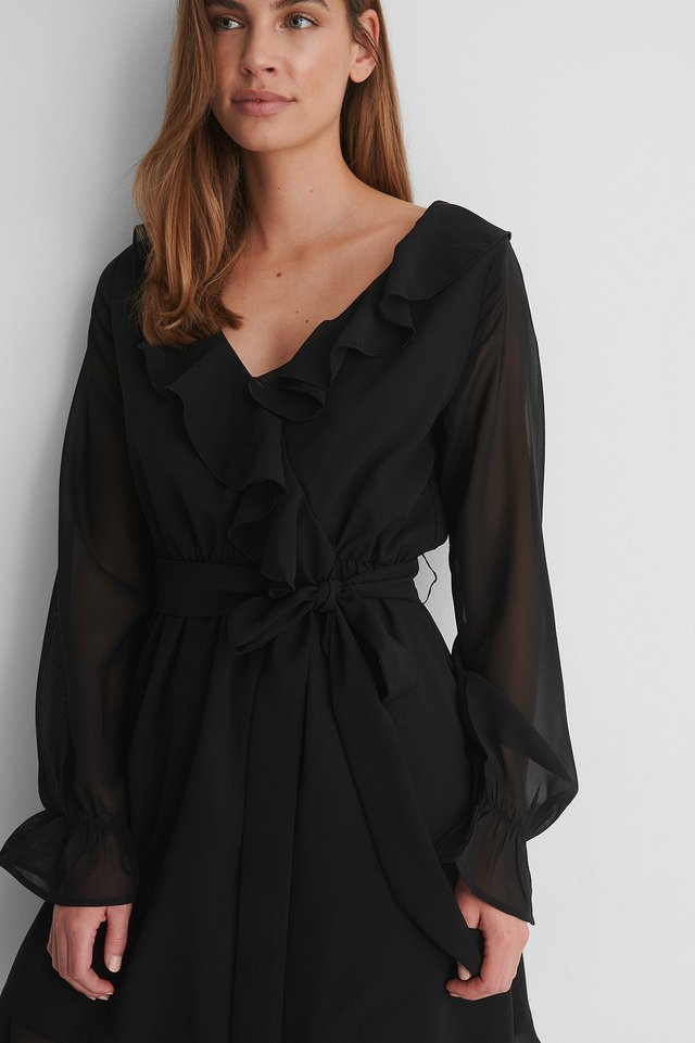 Black Flounce Chiffon LS Mini Dress