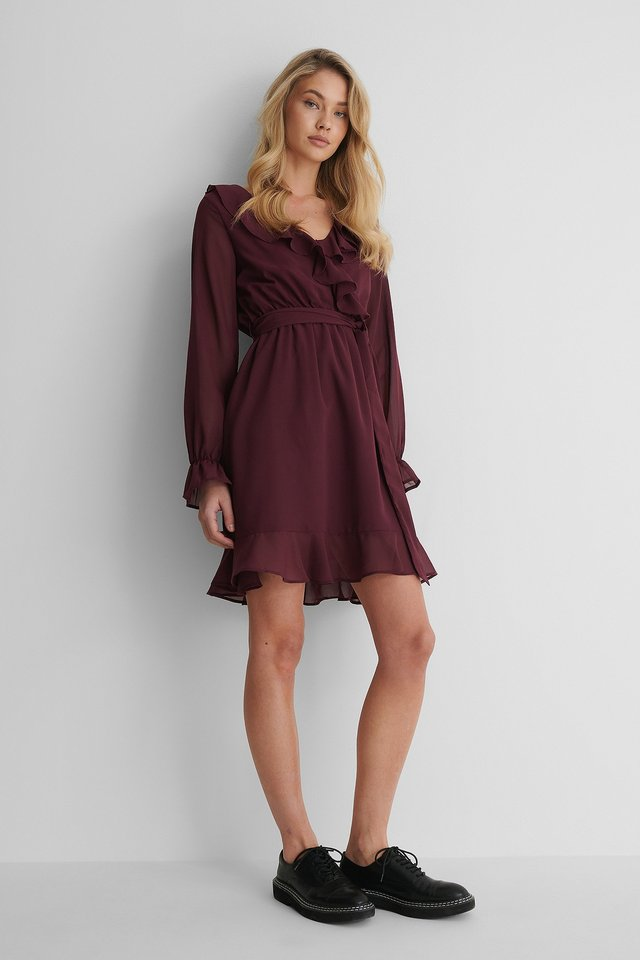 Burgundy Flounce Chiffon LS Mini Dress